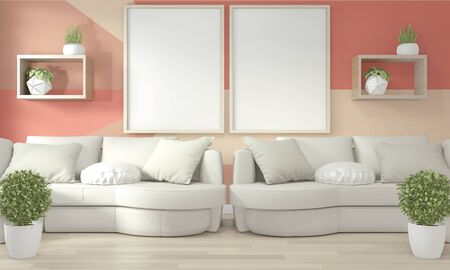 Ideas of living coral living room Geometric Wall Art Paint Design color full style on wooden floor. 3D rendering