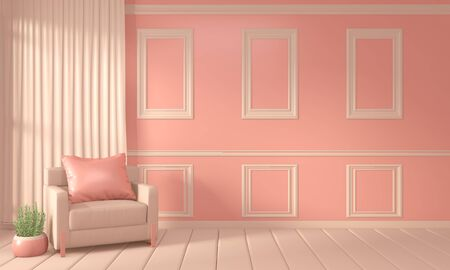 Mock up Room color living coral interior design and decoration. 3D rendering