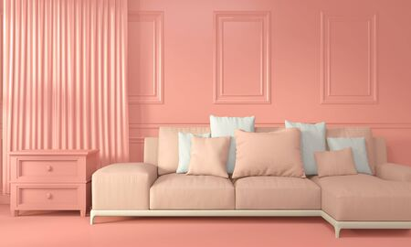 Mock up Armchair and decoration mock up room interior color living coral style. 3D rendering 版權商用圖片