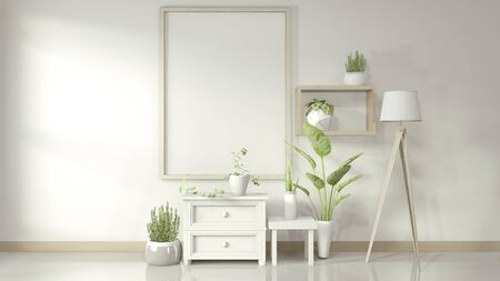Mock up poster frame with white cabinet and decoration plants on glossy floor. 3D rendering