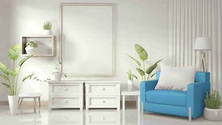 Mock up cornice per poster in soggiorno bianco con poltrona blu e piante decorative su pavimento bianco lucido. Rendering 3D