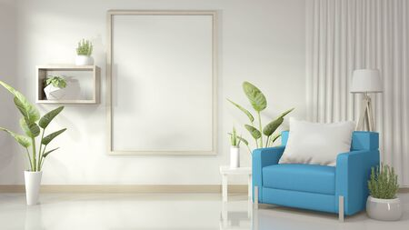 Mock up poster frame in white living room with blue armchair and decoration plants on white glossy floor. 3D rendering