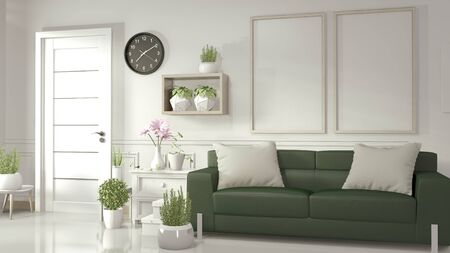 Mock up poster frame in white living room with green sofa and decoration plants on white glossy floor. 3D rendering