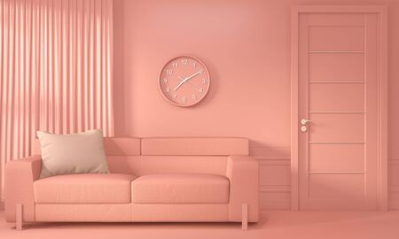 Living coral room interior with Sofa and decoration color living coral style. 3D rendering Banque d'images - 131521869