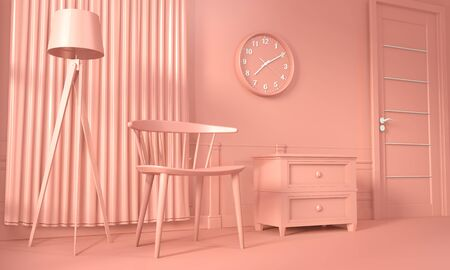 Mock up decoration color living coral style. 3D rendering Banque d'images - 131521973