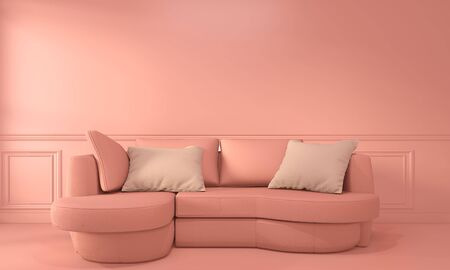 Living coral room interior with Sofa and decoration color living coral style. 3D rendering