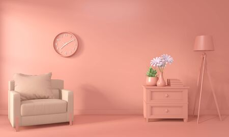 Armchair and decoration mock up room interior color living coral style. 3D rendering