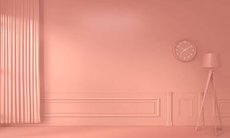 Mock up decoration color living coral style. 3D rendering