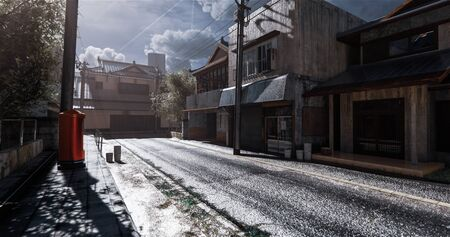 The realistic old-style Japanese house model.3D rendering