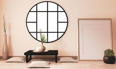 Zen room interior, Ryokan room design and decoration wooden design, earth tone.3D rendering