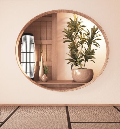 Shelf cabinet wooden on wall room zen style and decoraion wooden design, earth tone.3D rendering