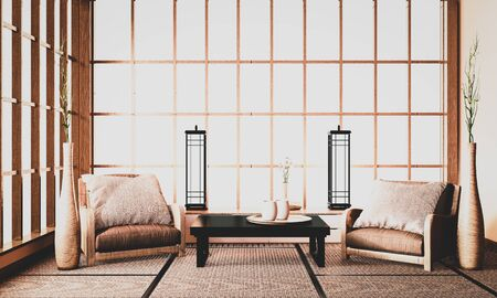 Ryokan interior, The front of the room is a traditional Japanese style that is hard to find.3d rendering