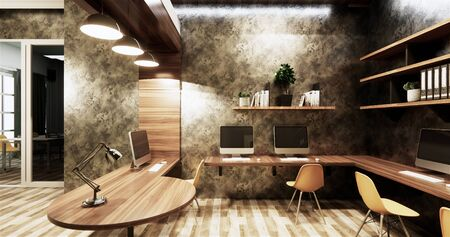 Office studio loft style interior design concrete wall gray glossy on wooden tiles.3D rendering Фото со стока