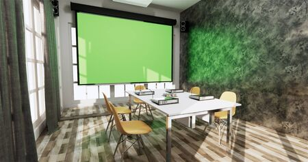 Loft style Office business - beautiful boardroom meeting room and conference table, modern style. 3D rendering