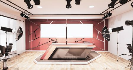News studio room design aluminum trim gold on red wall, Backdrop for TV shows.3D rendering