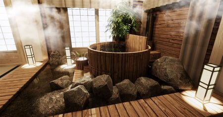 Onsen room interior with wooden bath and decoration wooden japanese style.3D rendering