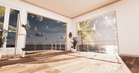 Sea view living room in modern beach summer home. 3D rendering Stock Photo
