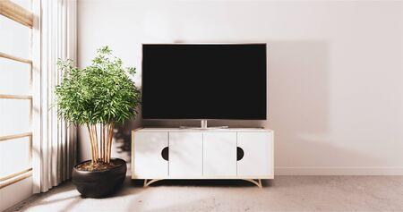 Smart TV führte auf Schrankdesign, minimaler Raum mock-up weißen Wandhintergrund. 3D-Rendering