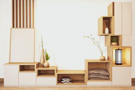 Scaffale per armadietto di design in legno in stile giapponese su stanza vuota minimo .3D rendering