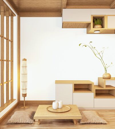 Cabinet wooden japanese style with low table wooden and sit pillowon Empty room minimal interior.3D rendering Stock Photo - 135105162
