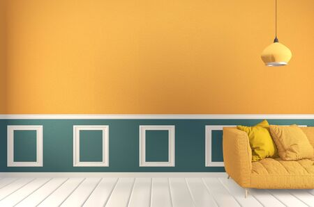 room Green and yellow, Sofa yellow and decoration plants on light green wall and wooden floor.3D rendering Reklamní fotografie