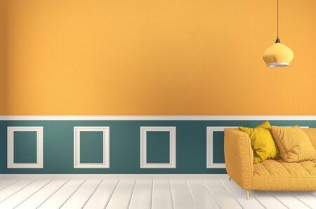 stanza Verde e giallo, divano giallo e piante decorative su parete verde chiaro e pavimento in legno. Rendering 3D Archivio Fotografico