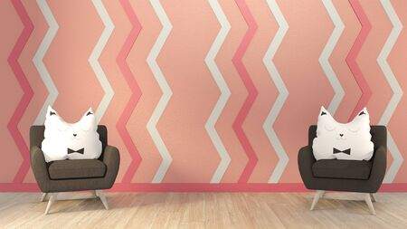 Interior mock up pink living room and armchir black on floor wood. 3D rendering.