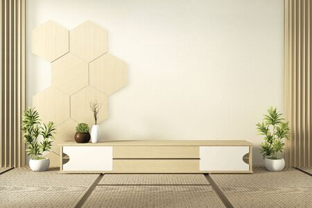 wooden cabinet tv with wooden hexagon tiles on wall and tatami mat floor room japanese style.3D rendering