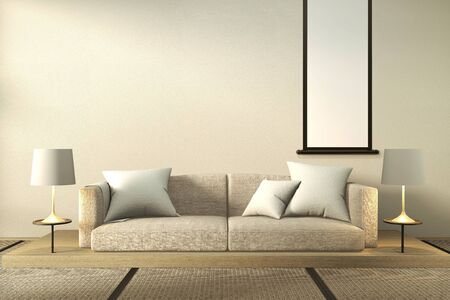 interior mock up Sofa wooden japan design, on room  japan wooden floor .3D rendering