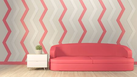 Interior mock up pink living room and sofa red on floor wood. 3D rendering.