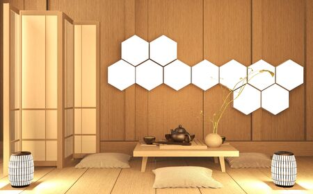 Scene Room very zen style with decoration japanese style on tatami mat.3D rendering