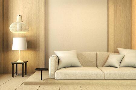 Wand aus Holz Innenarchitektur, Zen modernes Wohnzimmer im japanischen Stil. 3D-RenderingD
