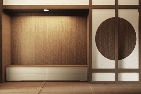Mock up shelf wall, Designed specifically in Japanese style, empty room. 3D rendering