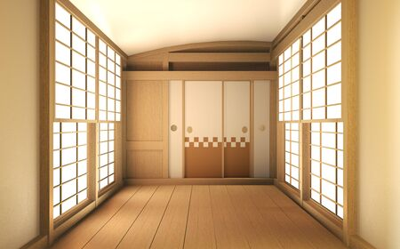 Interior mock up Japan Room Design Japanese-style and the white backdrop provides a window for editing. 3D rendering Stok Fotoğraf - 140183731