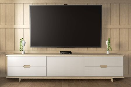 Smart Tv Mockup with blank black screen hanging on the cabinet decor. 3d rendering
