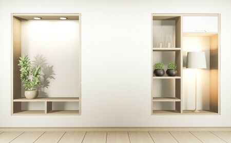 Shelf wall room zen style and decoraion wooden design, earth tone.3D rendering