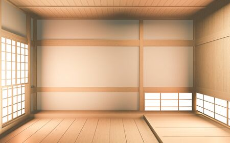 Interior mock up Japan Room Design Japanese-style and the white backdrop provides a window for editing. 3D rendering