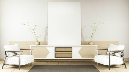 zen modern empty room,minimal design japanese style. 3d rendering Imagens