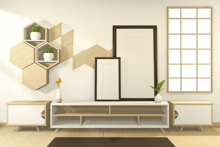 Tropical style - japanese room interior - minimal design. 3d rendering Archivio Fotografico