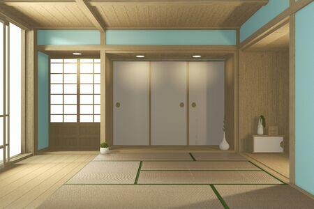 Empty big room Japanese tropical style. 3D rendering Reklamní fotografie