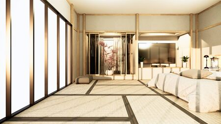 Modern zen peaceful Bedroom. japan style bedroom with shelf wall design hidden light and decoration nihon style.3D rendering 写真素材