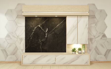 Cabinet granite in white empty interior room style, 3d rendering