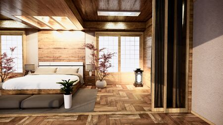 bedroom japanese interior design.3D rendering Archivio Fotografico