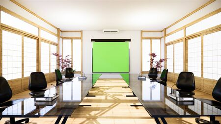 Office business - beautiful japanroom meeting room and conference table, modern style. 3D rendering Stock fotó
