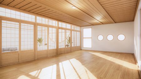 Japanese room tropical Interior style, Big empty room Interior mock up.3D rendering Stock Photo