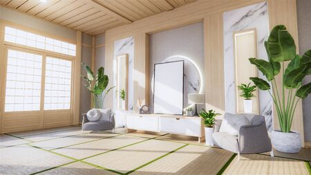 living room granite white wall background with decoration japan style design and shelf wall. 3d rendering