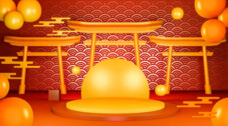 Red geometric podium Japanese tradition podium.3D rendering