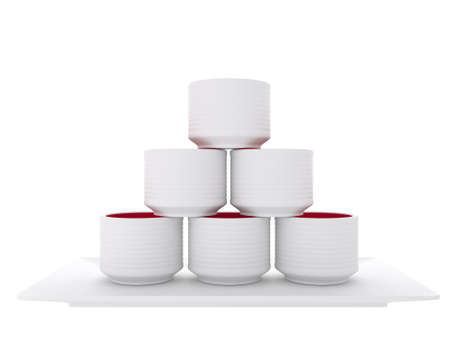japanese traditional with sake cup on white background.3D rendering