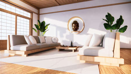 armchair on room  japan and the white backdrop provides a window for editing.3D rendering