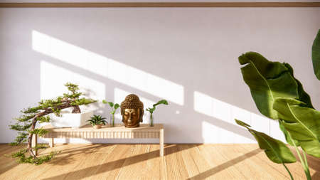 Bonsai tree on cabinet wooden on wall room zen style and decoraion wooden design, earth tone.3D rendering 版權商用圖片